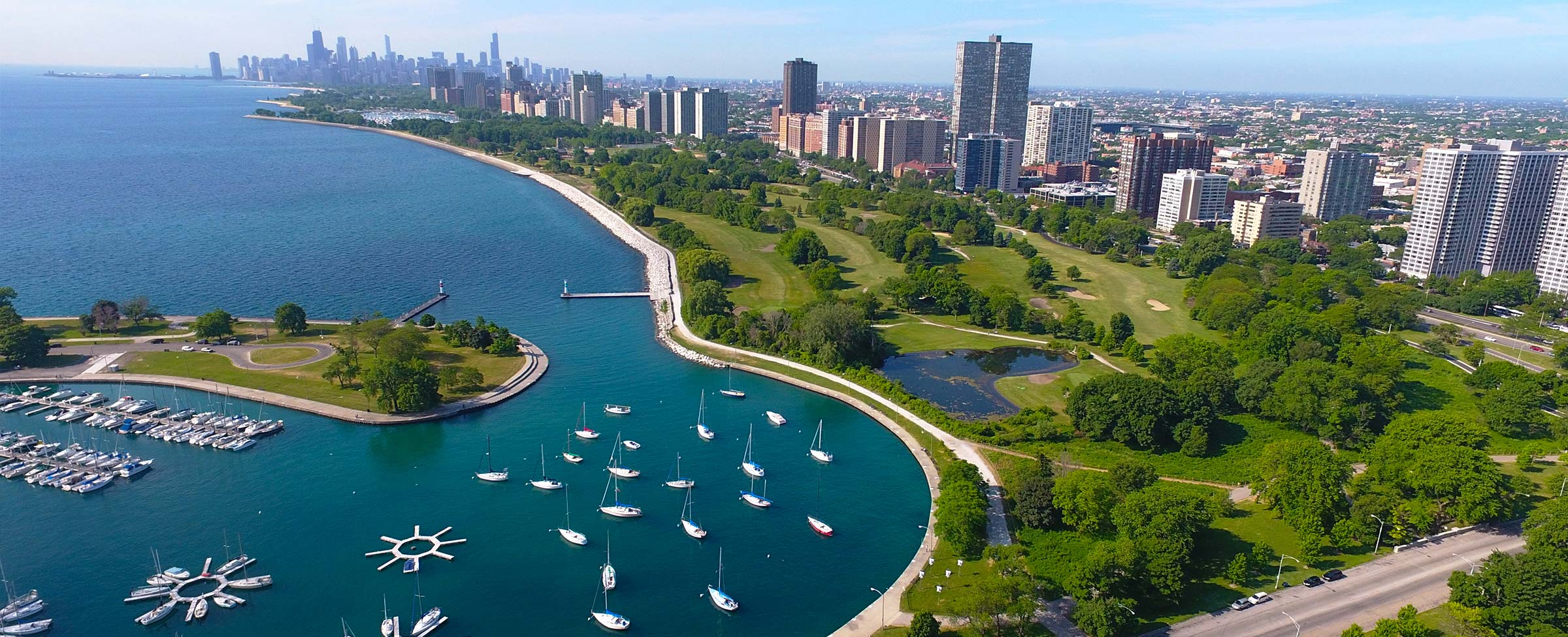 Overlooking Montrose Harbor and lake Michigan in Buena Park